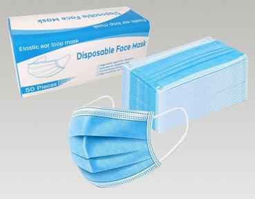 50x disposable nose-mouth protective mask 3 layers