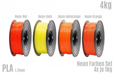 Neon PLA SET 4x 1kg Rolle Neon 1,75mm in Neon Rot/Gelb/Orange/Hellorange 4er Set (4Kg)